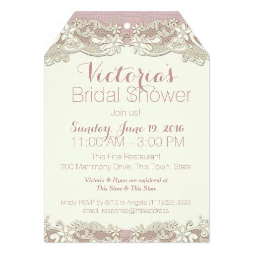 vintage linen and lace bridal shower 5 x 7 invitation card - Vintage Wedding Shower Invitations