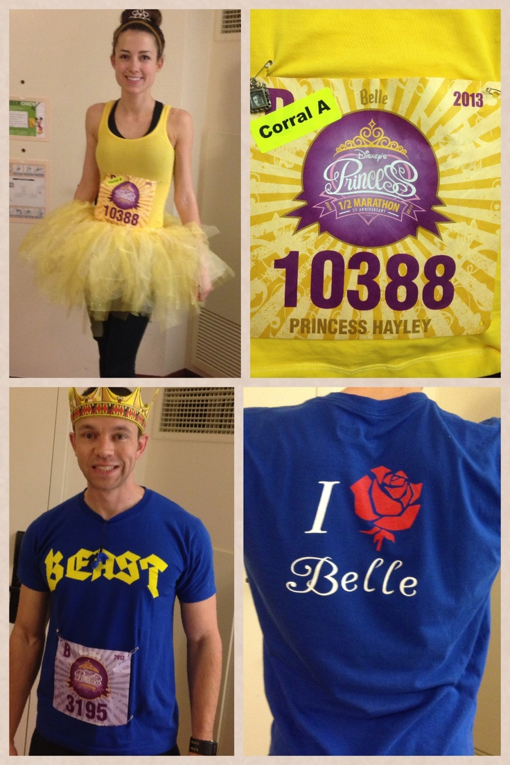 """Our final """"Beauty and the Beast"""" costumes for the 2013 Disney Princess Half-Marthon (as photographed for Cosmopolitan magazine!) http://thehappiestthings.com/2013/07/05/the-happiest-race-on-earth/"""