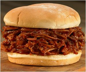 Crockpot BBQ Pulled Pork Sandwiches.  Surprise ingredient - root beer.
