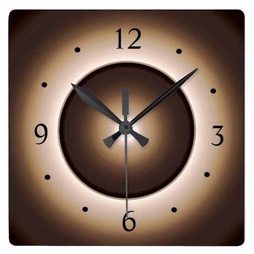 Tan/Brown Illuminated Light Centre> Wall Clock