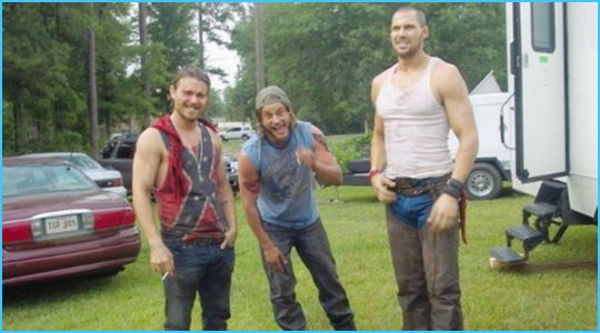 Travis Fimmel behind-the-scenes in Baytown Outlaws also Clayne Crawford and Daniel Cudmore. :)
