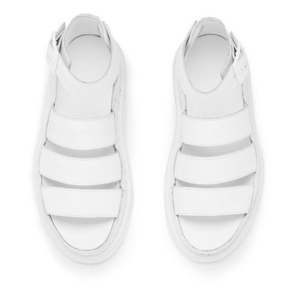 Dr. Martens Women's Shore Clarissa Chunky Strap Leather Sandals White... ($125) ❤ liked on Polyvore featuring shoes, sandals, strappy shoes, white strappy sandals, strap sandals, strappy leather sandals and chunky-heel sandals