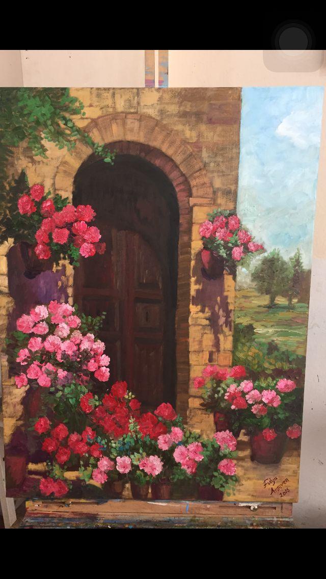 Çiçekli kapı Toscana art artist paint yağlıboya resim