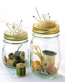 giftsSewing Jars, Sewing Kits, Pin Cushions, Gift Ideas, Martha Stewart, Pincushions, Mason Jars, Diy, Crafts