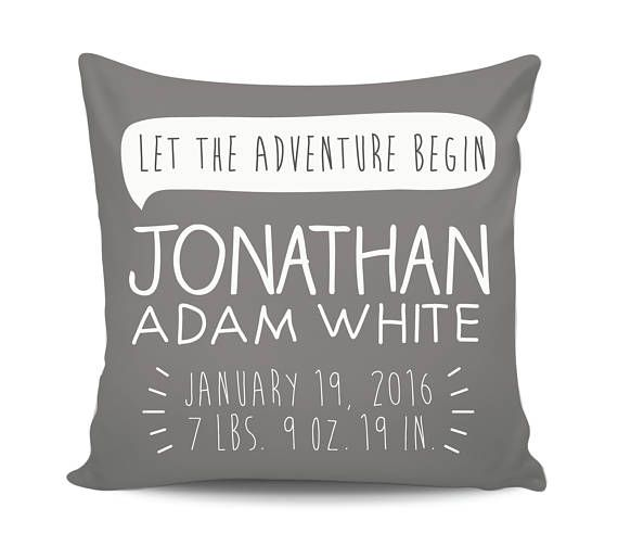 Baby stats pillow, birth announcement pillow, personalized gifts fo baby, birth pillow, newborn stats, baby shower gift by Emma's Story
