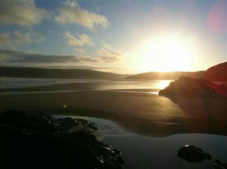 Sunrise over the dunes at Crantock near Newquay.