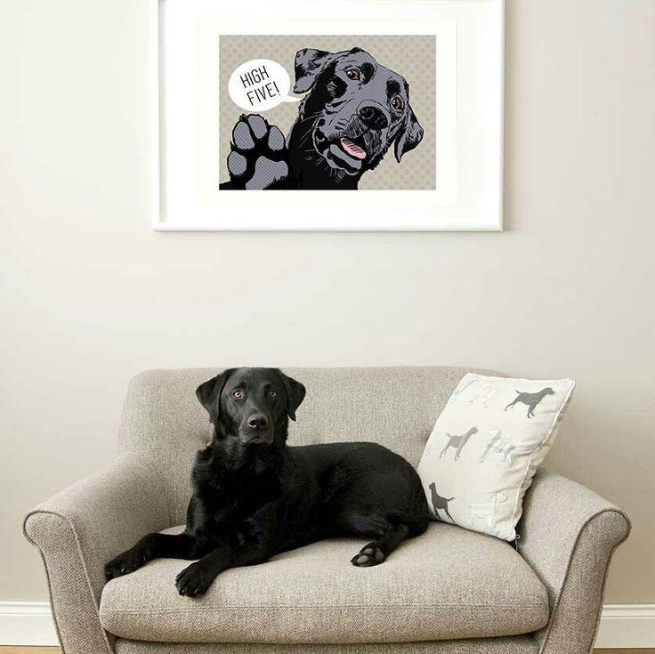 High Five labrador print now available in a warm grey colourway  #grey #dogs #blackbear #blacklab #labrador #dog #popart