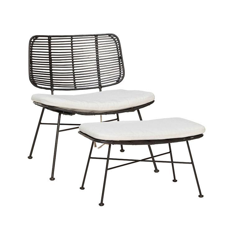 Loungestol med skammel & pude fra Hübsch Interior. Hurtig leveringstid. 14 dages fuld returret. På lager. Fri fragt ved køb over 499,-