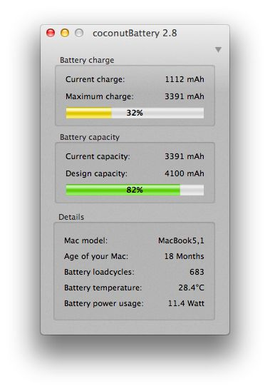 coconut battery-measure battery health for MAC