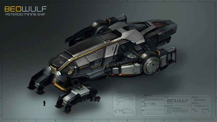 BEOWULF - Asteroid Mining Ship, Andre Kieschnik on ArtStation at https://www.artstation.com/artwork/JvGn0