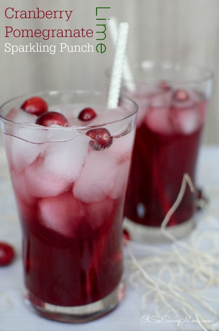 Cranberry Pomegranate Sparkling punch recipe. Great non-alcoholic drink for the holiday season!