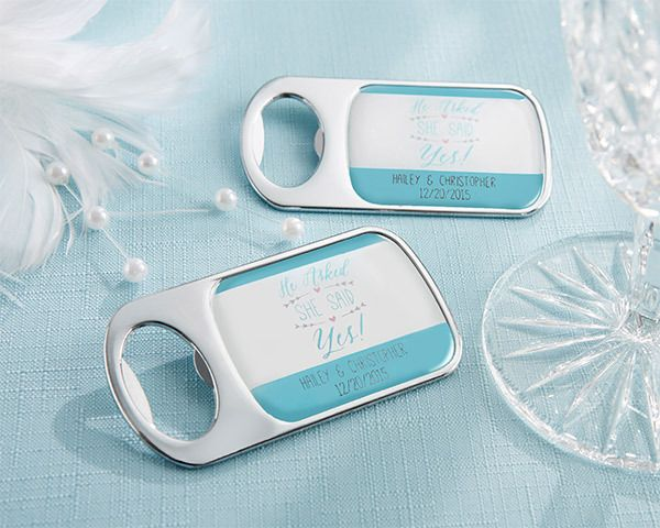 Personalised Silver Bottle Opener with Epoxy Dome – He Asked, She Said Yes | http://www.weddingfavoursaustralia.com.au/products/personalised-silver-bottle-opener-with-epoxy-dome-he-asked-she-said-yes