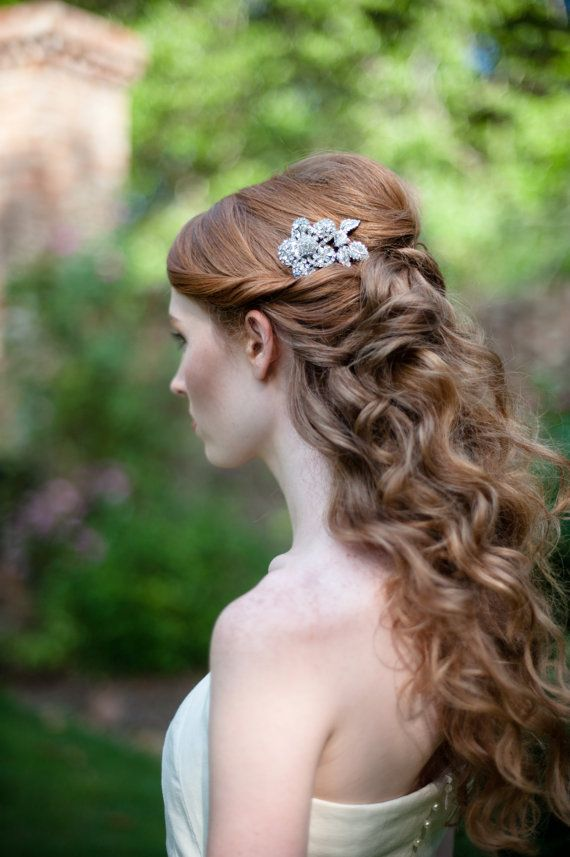 Rhinestone Flower Bridal Comb Sparkling and Gorgeous hair