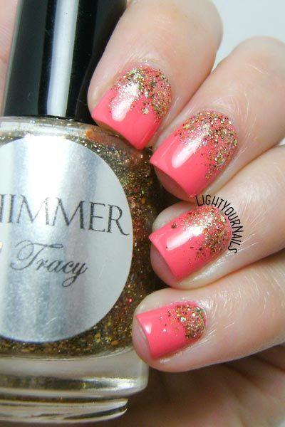 Coral and gold glittery gradient nail art  @catriceofficial
