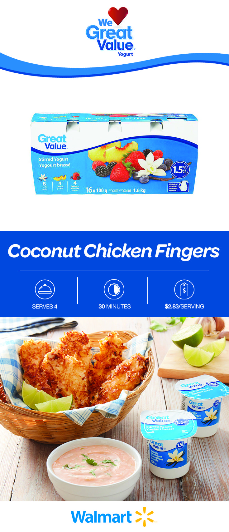 This is a great dinner treat the kids will love: coconut chicken fingers. Use our Great Value Yogurt as a marinade for a tangy twist. Only $2.83 per serving. Find this affordable recipe by clicking the link! #chickenrecipes #coconutchicken #chickenfingers #coconutchickenfingers #chickenfingerrecipes #kidfriendlymeals #kidfriendlydinners #dinnerrecipes #easydinners #affordabledinnerrecipes