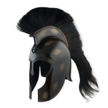 Trojan Helmet - SD-34816 - Wear the helmet of Achilles, ancient Greece's greatest warrior and leader of the fierce Myrmidons! This ready-to-wear helmet is crafted from an actual design used in the Greek city-state of Corinth. This excellent replica is hand made from carbon steel with a black finish. This item includes a removable black hair crest. This is a fantastic item for historical reenactors or serious collectors!