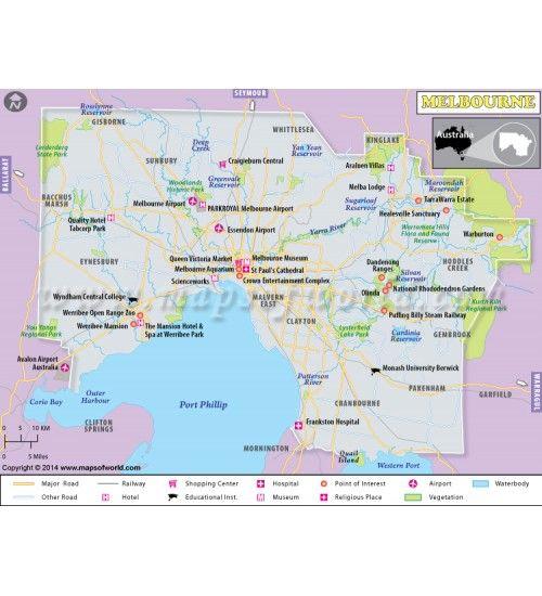 Mejores 52 imgenes de city maps en pinterest mapas de la ciudad buy melbourne map gumiabroncs Image collections