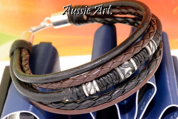 4B-777 Finely Made Sterling Silver & Leather Surf Wristband Bangle Men Bracelet.