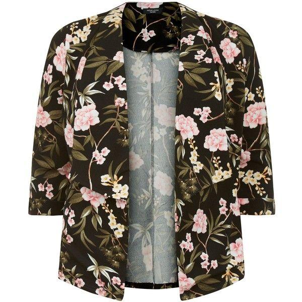 Curves Blazer noir en crêpe à imprimé floral (120 ILS) ❤ liked on Polyvore featuring outerwear, jackets, blazers, floral jackets, flower print blazer, brown jacket, brown blazer and floral blazers