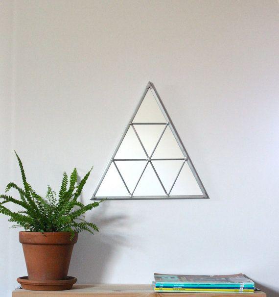 Triangle Wall Mirror Geometric / Handmade Wall Mirror Triangle Shaped Mirror Traingles Miroir Drejeck $80.00