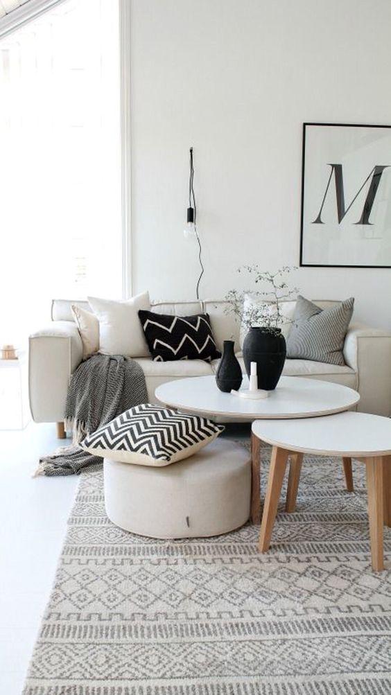 Black And White Living Rooms Monochrome Interior Nordic
