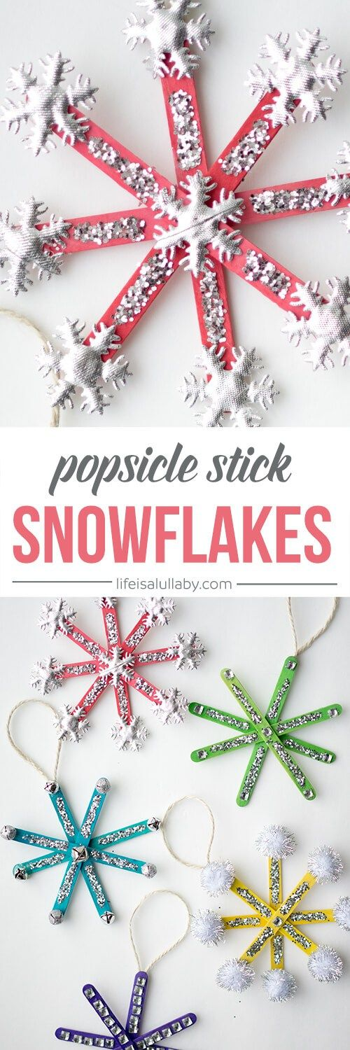 How to Make Popsicle Stick Snowflake Ornaments - these are so much fun and easy to make!