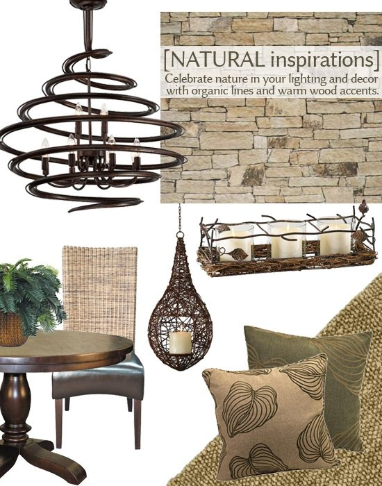 Organic lines, warm wood accents, and natural materials lend an earthy beautyto theNatural Inspirations design trend. Look for furniture made of wood or wicker; textiles crafted from sisal or jute; and home decor withprints and patternstaken from nature. #lampsplus  #mystyle