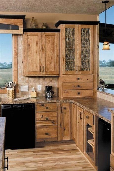Hickory Cabinets Rustic Kitchen Design Ideas Wood Flooring Pendant Lights Kitchenremodeling