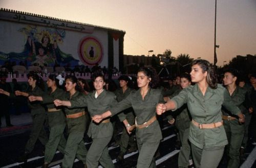 Female soldiers in the Iraqi Army, 1990.