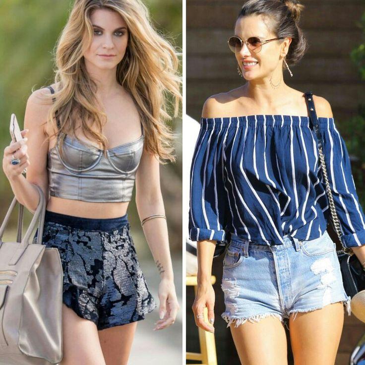 Dois looks lindos e fashion, da Rachel McCord e da Alessandra Ambrósio para inspirar!🌺🌻 O primeiro é uma combinação criativa de cropped prata, shortinho preto com lantejoulas e bolsa nude.  O segundo, um mix clássico de listras e short jeans, cintura alta e bolsa preta. #creative #style #casual #fashion #rachelmccord #alessandraambrosio