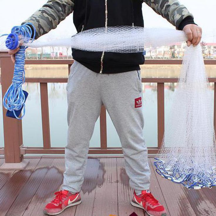 Diametro di 2.4-4.2 m in Stile Americano di Cast Net Outdoor Sport Strumento di Rete Da Pesca Rete Da Pesca A Maglie 1*1 cm