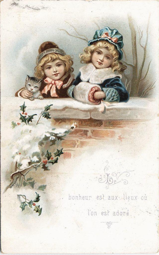 Открытка, винтажные новогодние открытки для декупажа