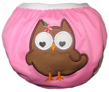 Zwemluier van het merk Monkey Doodlez. Kleur is roze met een schattige #uil applicatie.  #baby #zwemluier