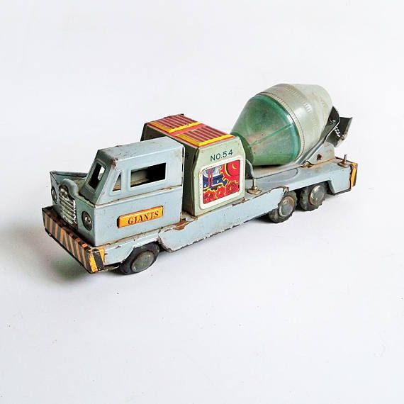 1950s Toymaster Cement Mixer Truck Friction Toy Tin Toy