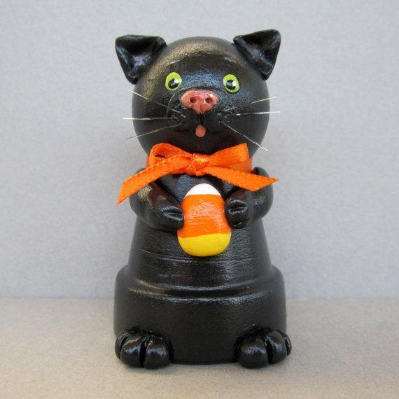 Halloween Black Cat Flowerpot Bell Ornament by sanquicreations, $8.99