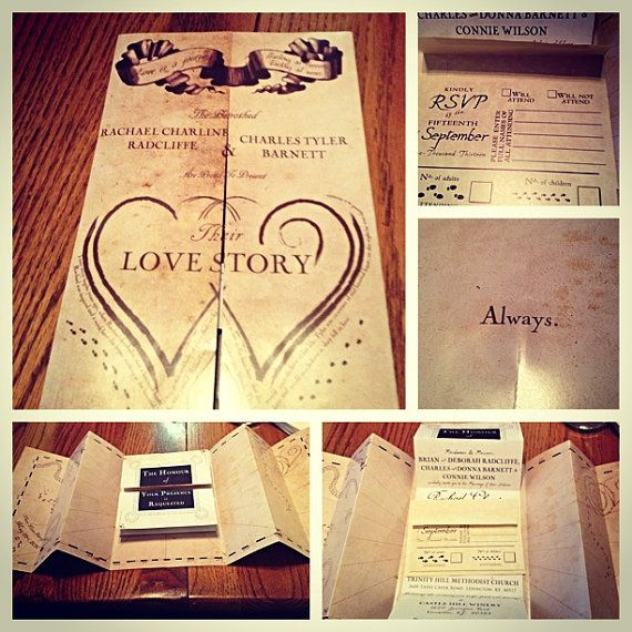 Harry Potter Marauders Map Wedding Invitation on Etsy, $15.00