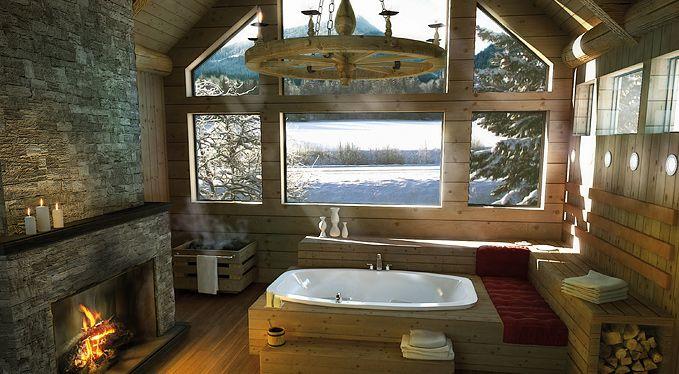 bath: Modern Bathroom Design, The View, Fireplaces, Bathtubs, Dreams Bathroom, Dreams House, Master Bath, Cabin Bathroom, Dreamhous