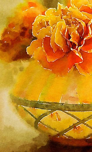 Orange and yellow watercolour by Madge