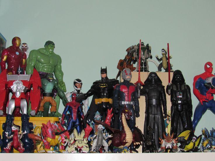 Shelf full of action figures.