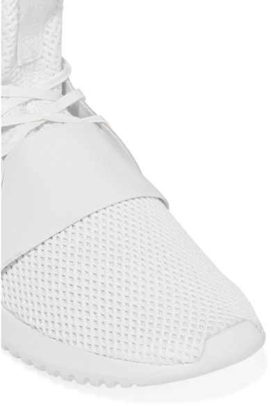 adidas Originals - Tubular Defiant Faux Leather-trimmed Stretch-knit Sneakers - White - US