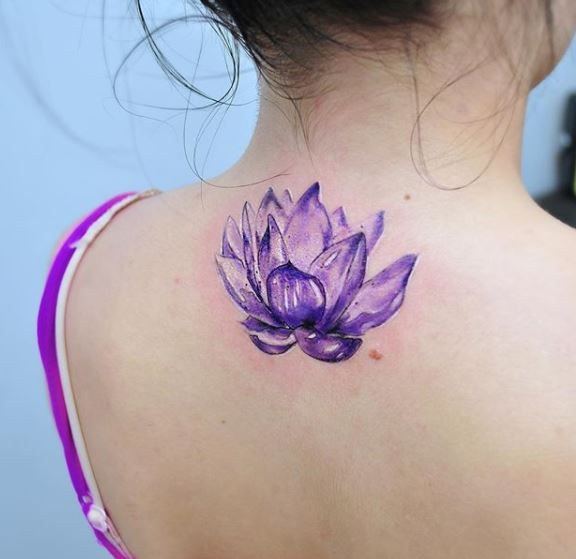 Watercolor Violet Lotus Flower Tattoo On The Upper Back