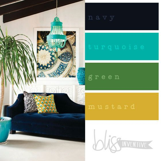 navy and turquoise