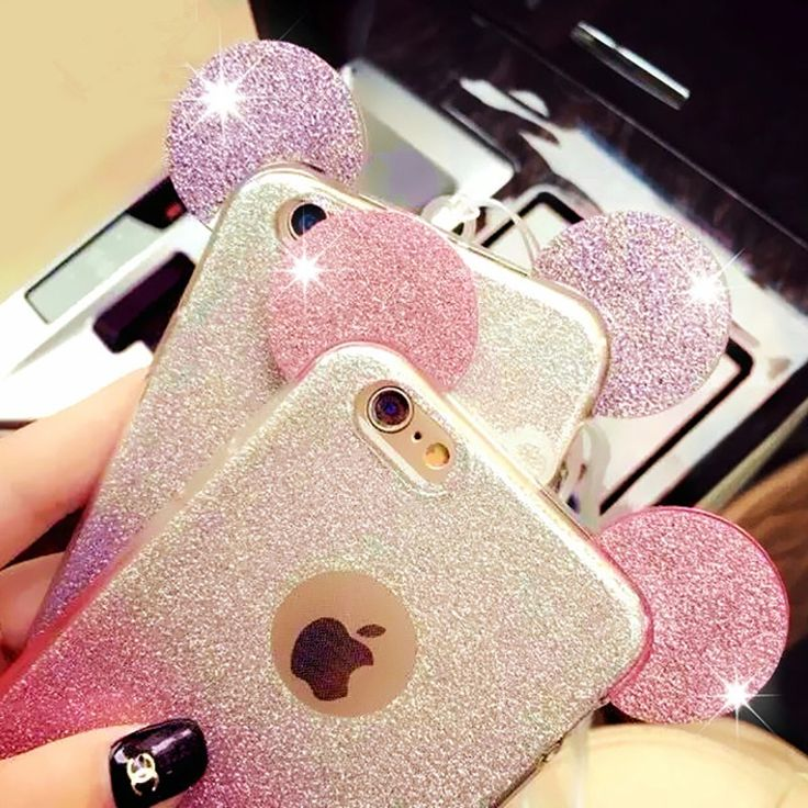 Gradiënt glitters bling telefoon gevallen voor iphone 6 6s 6 plus leuke cartoon mickey mouse oor telefoon cover voor iphone 6 case Fundas