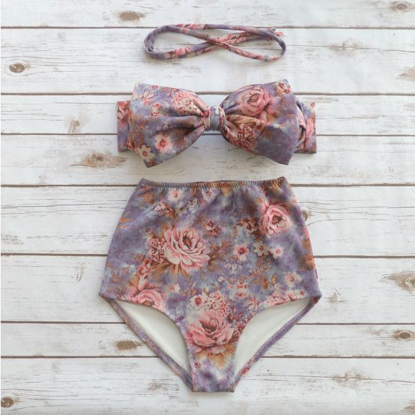 Bow Bikini Vintage Style High Waisted Retro Pin-Up Bathing Suit Pretty... ($49) ❤ liked on Polyvore featuring swimwear, bikinis, silver, women's clothing, bandeau bikini tops, vintage style bathing suits, bikini tops, halter top swimsuit and padded bikini tops
