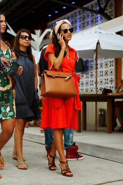 Perfect red dress brown leather sandals Hermes Kelly bag | Great ...