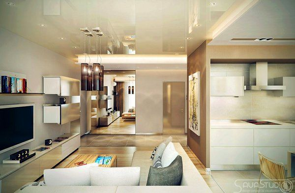 Brown Cream Open Plan Lounge Room Interior Decor  from Savastudio