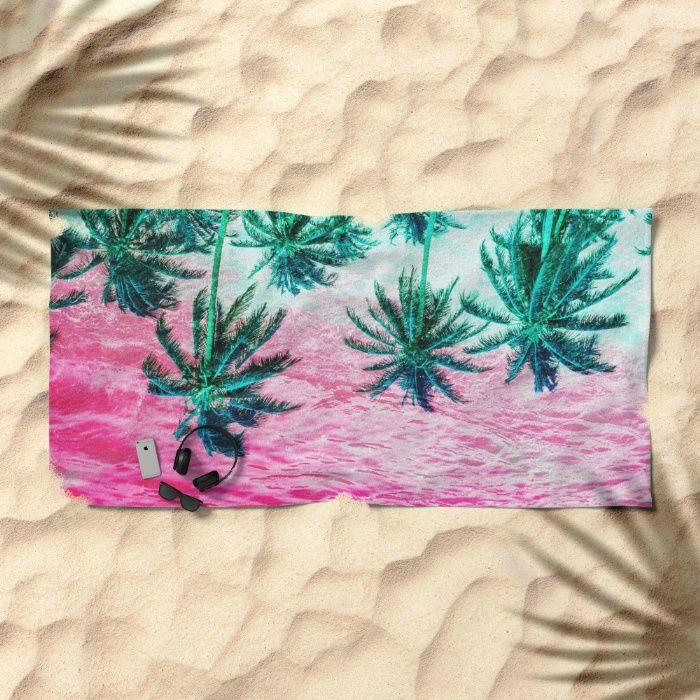 Pop Palm Surf Beach Towel by REALITY Studios   Society6
