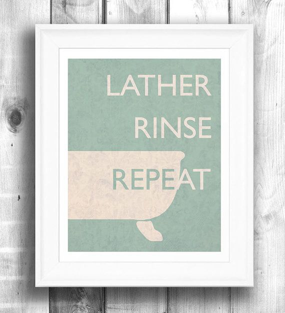 Teal bathroom art retro poster by Happy Letter Shop