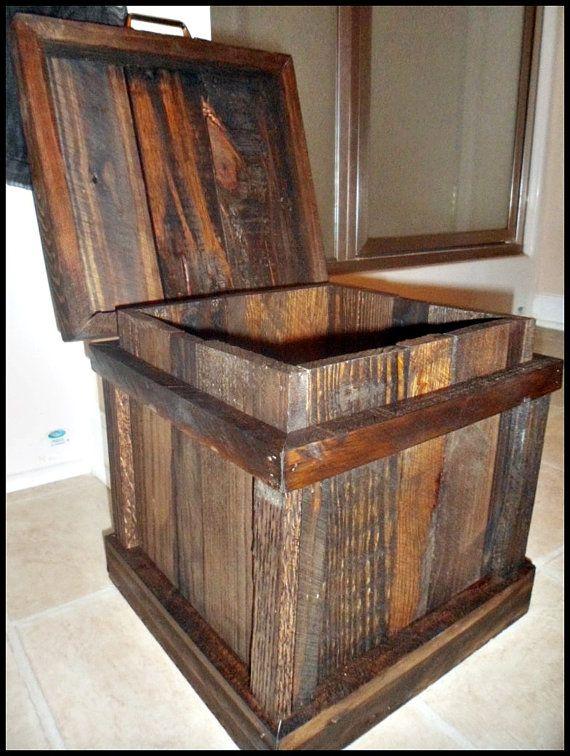 Wood Trash Can Bathroom Trash Home Decor Office Trash Can Oak And Walnut Trash Can Rustic