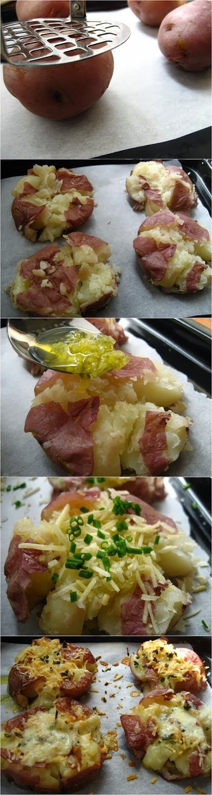 Crushed New Potatoes...definately gonna do this for Sunday dinner